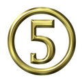 3D Golden Number 5 Stock Image