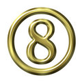 3D Golden Number 8 Royalty Free Stock Image