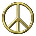 3D Golden Peace Symbol Royalty Free Stock Images