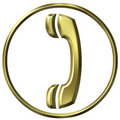 3D Golden Telephone Sign Royalty Free Stock Photos