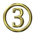 3D goldene Zahl 3 Lizenzfreie Stockfotos