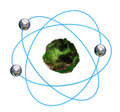 3D green atomic structure with blue orbitals Stock Photos