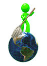 3d Green man mopping the globe 3d Royalty Free Stock Photo