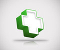 3d green plus icon Stock Photography