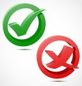 3d green and red check mark symbols Stock Photography
