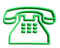 3D green telephone sign Royalty Free Stock Photo