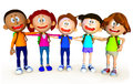 3D group of school kids Stock Photo