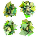 3d growing shape in multiple green Stock Photo