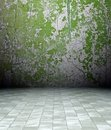 3d grunge interior, green rusty wall Royalty Free Stock Photo