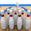 3D guy bowling Royalty Free Stock Photo