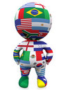 3D guy with the world flags Stock Photos