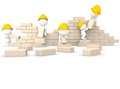 3D guys building a wall Royalty Free Stock Photo
