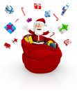 3D Happy Santa throwing gifts Royalty Free Stock Images