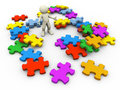 3d heap of puzzle pieces Royalty Free Stock Photo