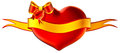 3D heart with bow and golden ribbon Royalty Free Stock Photography