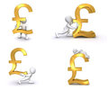 3D Human British Pound Stock Images