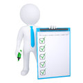 3d human with marker and check list Stock Image