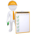 3d human with marker and check list Royalty Free Stock Photo