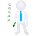 3d human with marker and check list Royalty Free Stock Photos