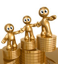 3d icon figures with gold coin piles Stock Photography