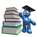 3d icon of graduation and books Stock Photos