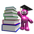 3d icon of graduation and books Stock Photo