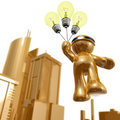 3d icon with idea light bulb balloon Royalty Free Stock Image