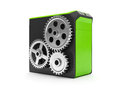 3d illustration: System unit and a group of gears Stock Photos