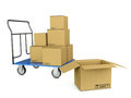3d image trolley with boxes Royalty Free Stock Photos