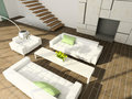 3d interior living modern render room Royaltyfria Bilder