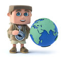 3d Kid hiker with a globe Royalty Free Stock Photo