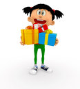 3D kid holding gifts Stock Photography