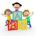 3D kids with ABC cubes Royalty Free Stock Photo