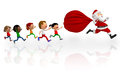 3D kids chasing Santa Royalty Free Stock Photo