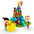 3D kids opening Christmas presents Royalty Free Stock Photo