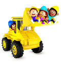 3D kids playing with a bulldozer Royalty Free Stock Photos