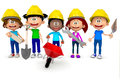 3D kids working in construction Royalty Free Stock Photo