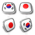3d korea and japan flag button Royalty Free Stock Photography