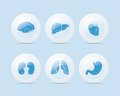 3D Light Blue Medical Icons, Buttons Royalty Free Stock Images