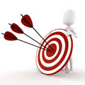 3d man behind a target - on white background Stock Photos