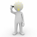 3d man drawing idea lightbulb Stock Image