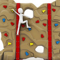 3d man escalating a climbing wall Royalty Free Stock Photos