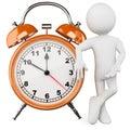 3D man with a huge alarm clock Royalty Free Stock Photos