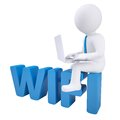 3d man with laptop sitting on the WIFI Royalty Free Stock Photo