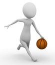 3D man running with a basketball Royalty Free Stock Photo