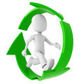 3d man, running inside the recycle symbol Stock Image