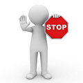 3d man showing stop sign Stock Images