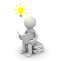 3d man sitting and reading a book with idea bulb Stock Photo