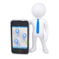 3d man and a smartphone with a map and marks Royalty Free Stock Photo