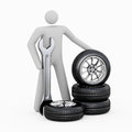 3D man & Tires Stock Photography